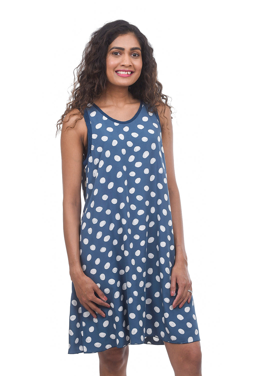 Iguana Going Dotty Shift Dress, Blue Dot