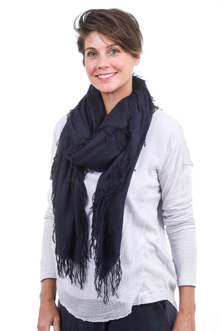 Blue Pacific Tissue Solid Scarf, Midnight Blue One Size Blue
