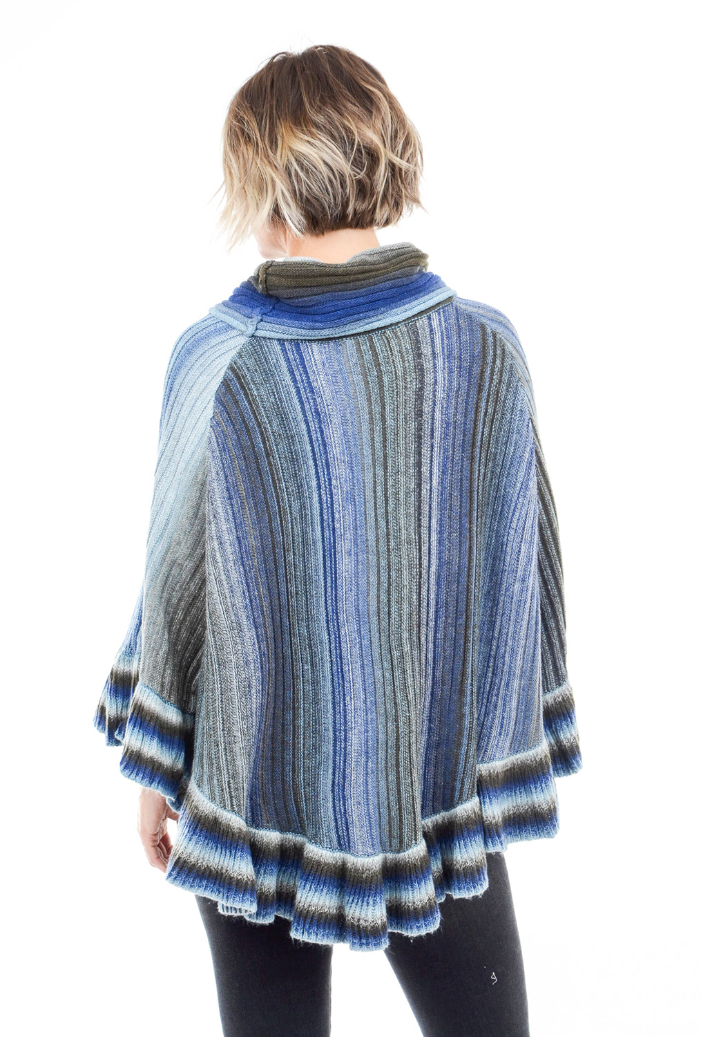 Sisters Ombre Cowl Poncho, Blue Multi