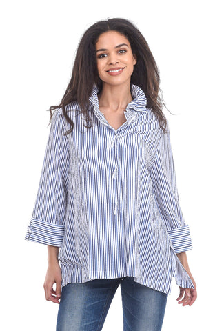 Moonlight Just the Blue Stripes Blouse, White/Blue