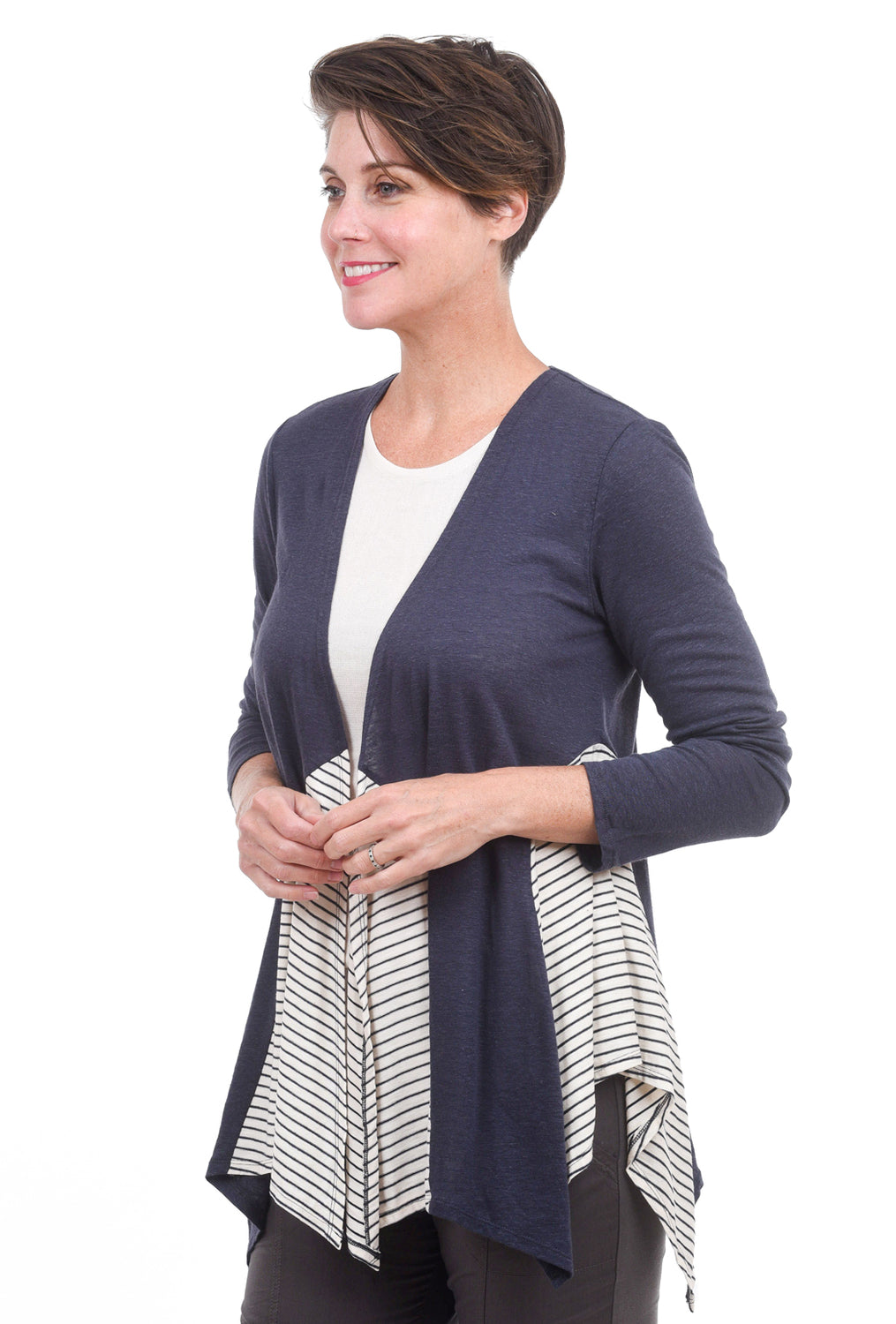 Mystree Mix Stripe Open Cardie, Navy