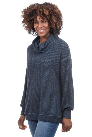 Sinuous Plush Herringbone Cowl Top, Blue/Black