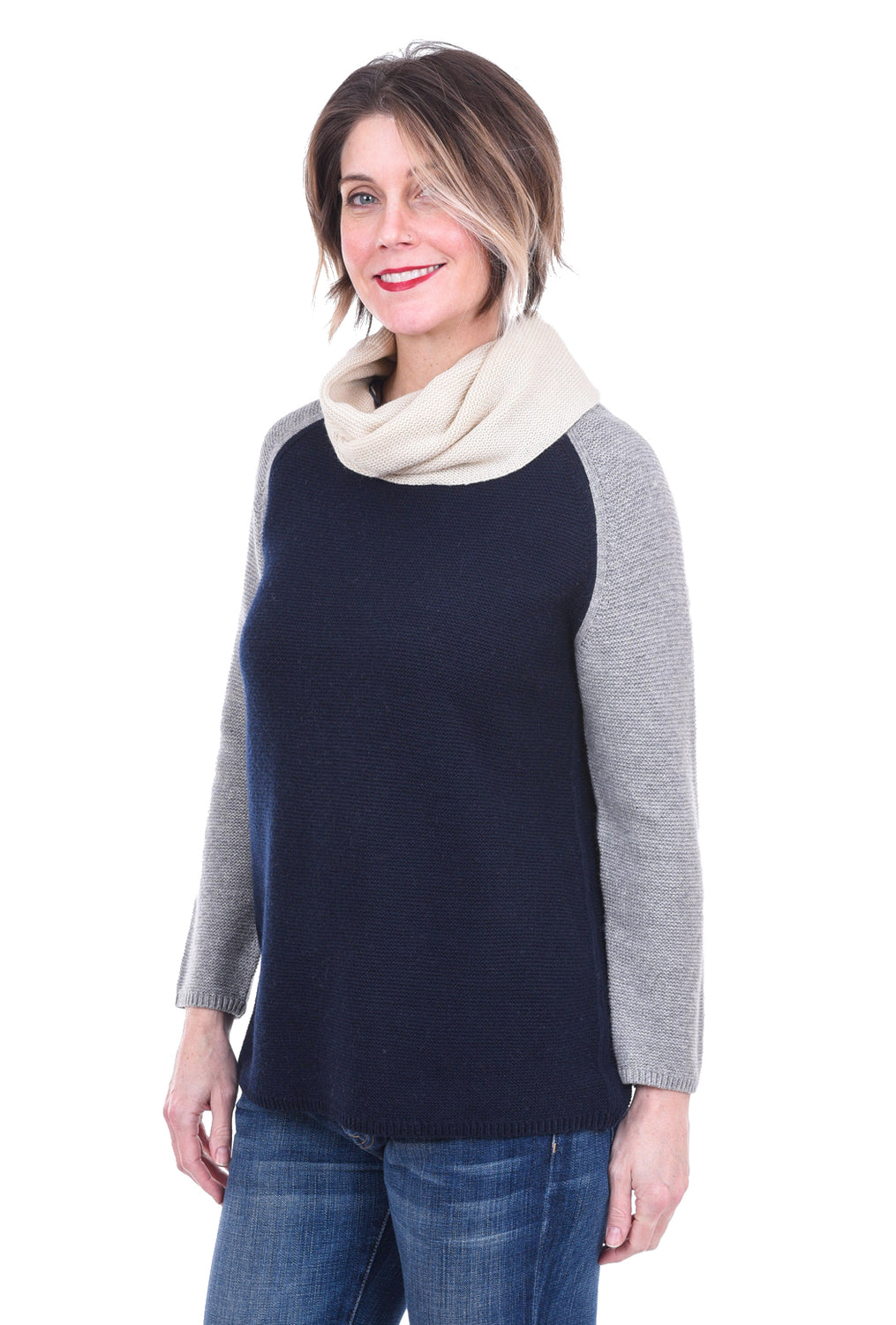 Sisters Color Trio Cowl Sweater, Denim