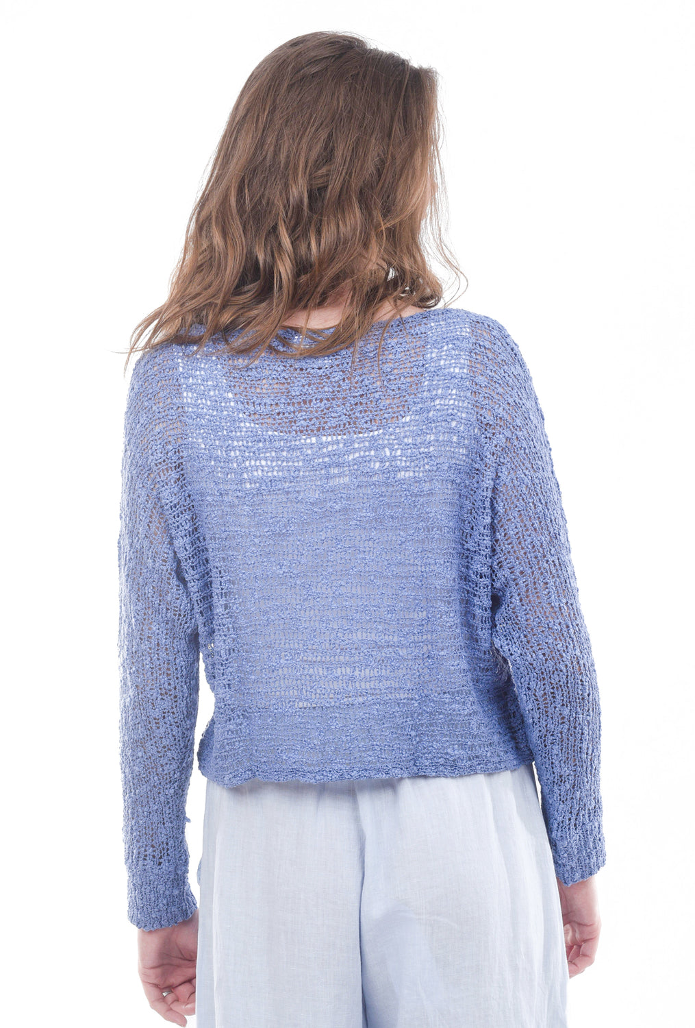Island Tribe Knits Soho Crochet Pullover, Periwinkle Blue