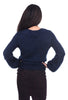 Hem & Thread Textured Balloon Sleeve Sweater, Navy
