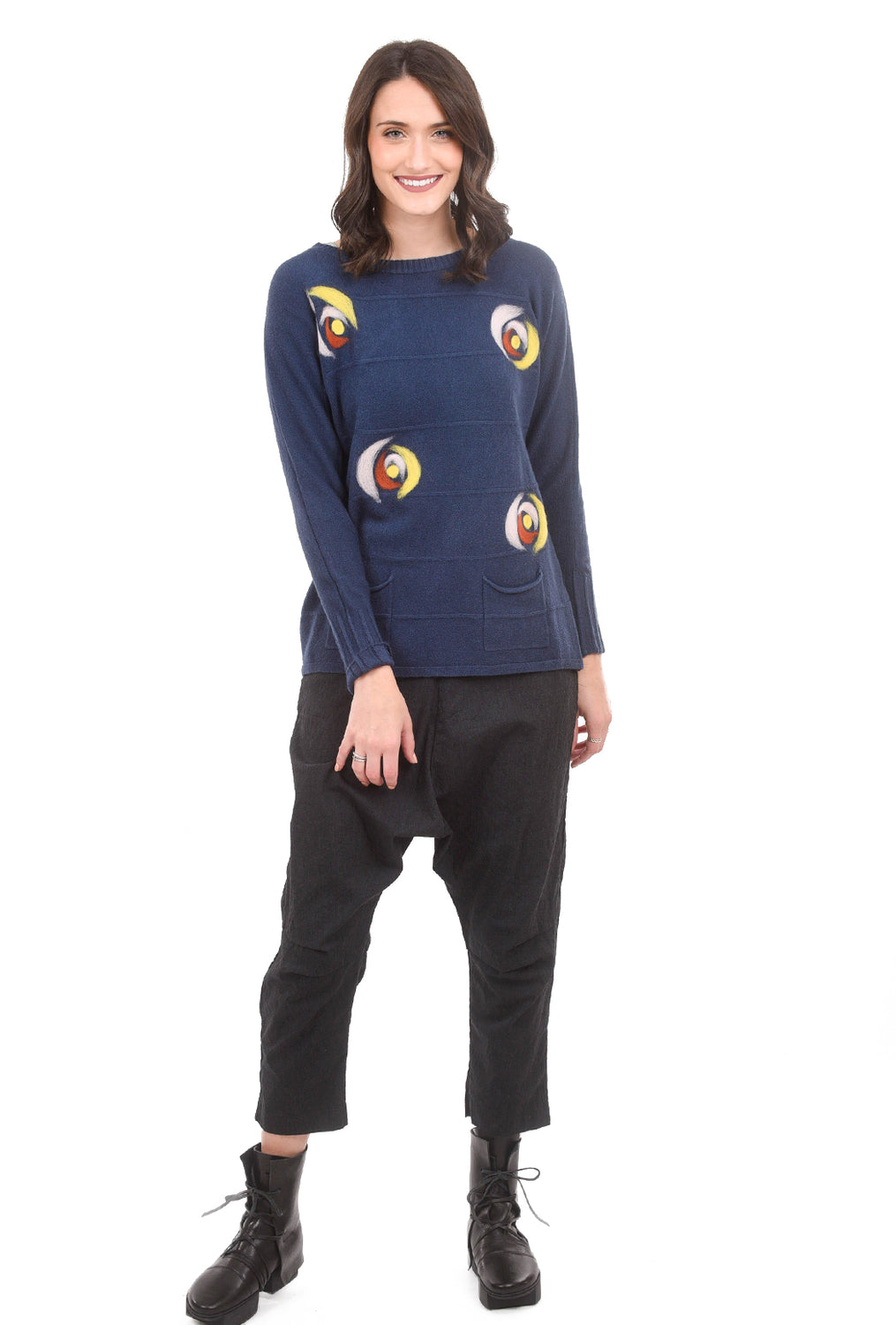Patrizia Luca Felted Circles Sweater, Blue