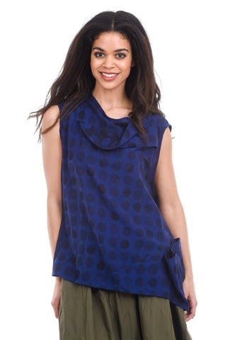 Ji-U S/L Woven Tonal Dot Top, Indigo Purple One Size Blue