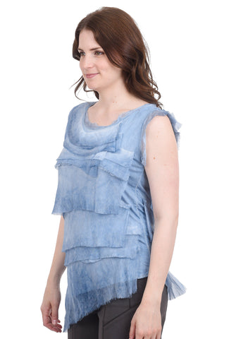 Oro Bonito Tattered Silk Tiers Top, Denim One Size Denim