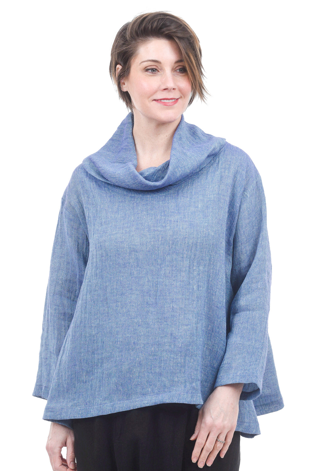 M Square Textured Crop Cowl Top, Surf One Size Blue