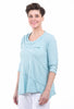 Fenini Light Slub Patch Top, Breeze Blue