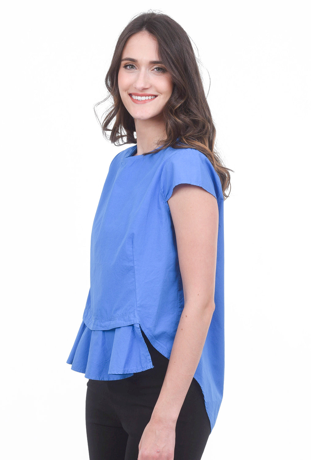 Baci Poplin Details Top, Royal Blue