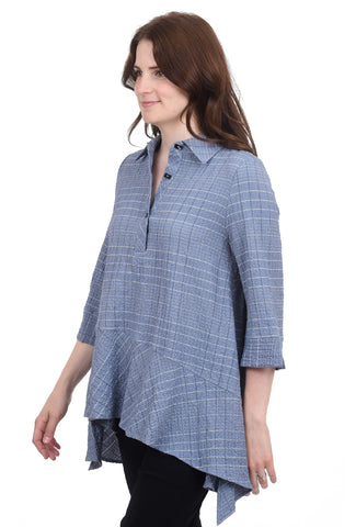 Refined Pinstripes Blouse, Blue