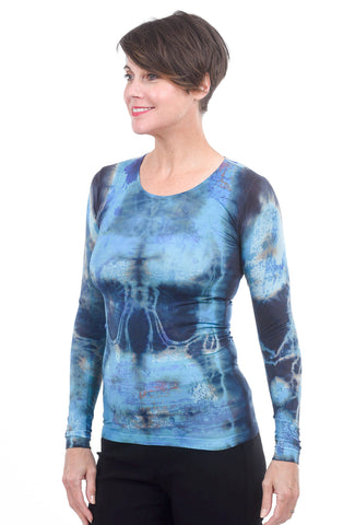 AMB Designs Crew Neck Layer Top, Blue Mixed Media One Size Blue
