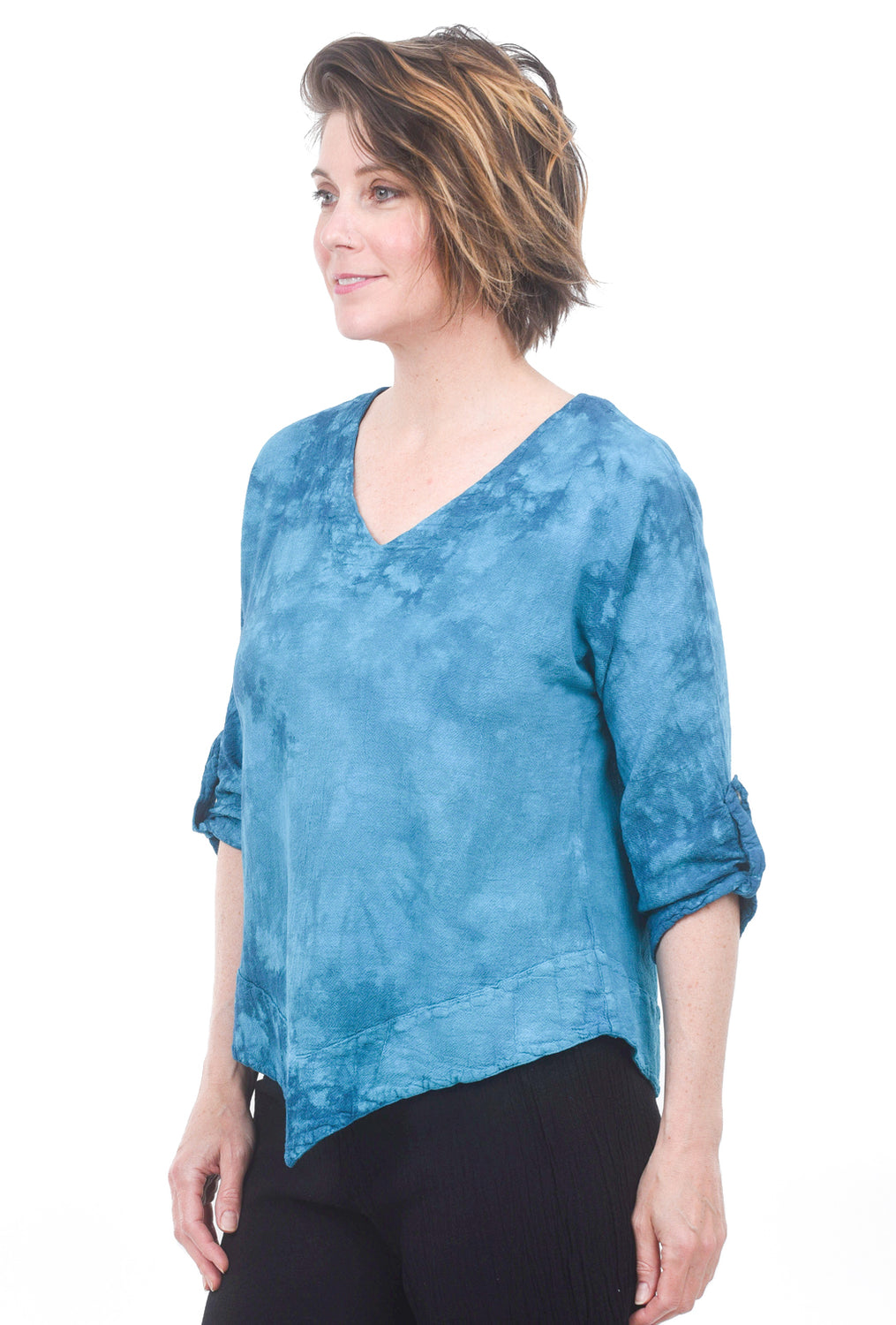 Cottonways Dorie Cotton Gauze Top, Peacock