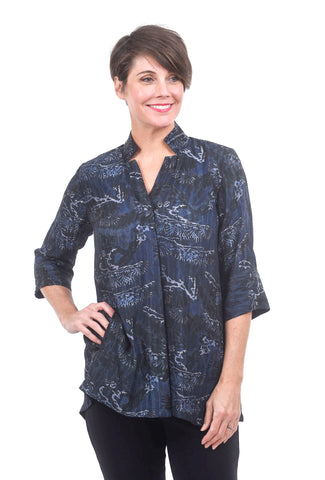 Dressori Silk Cloque Swing Blouse, Ink