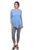 Lilla P 3/4-Sleeve Rib Trim Tee, Pacific Blue