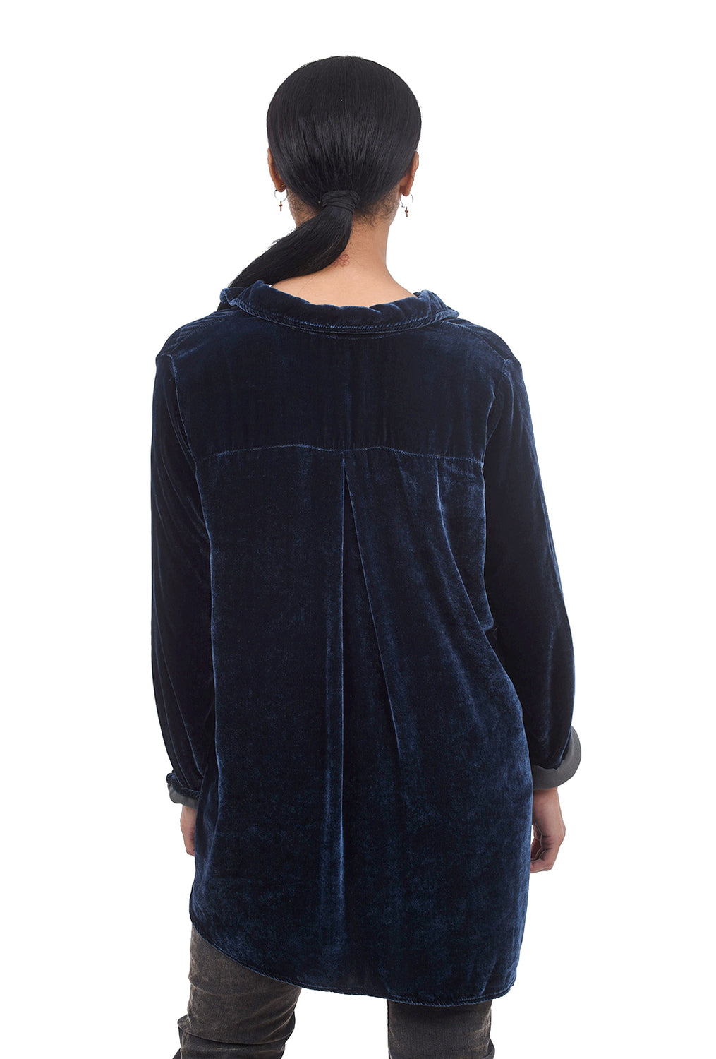 Cut Loose Velvet High-Low Shirt, Blueprint