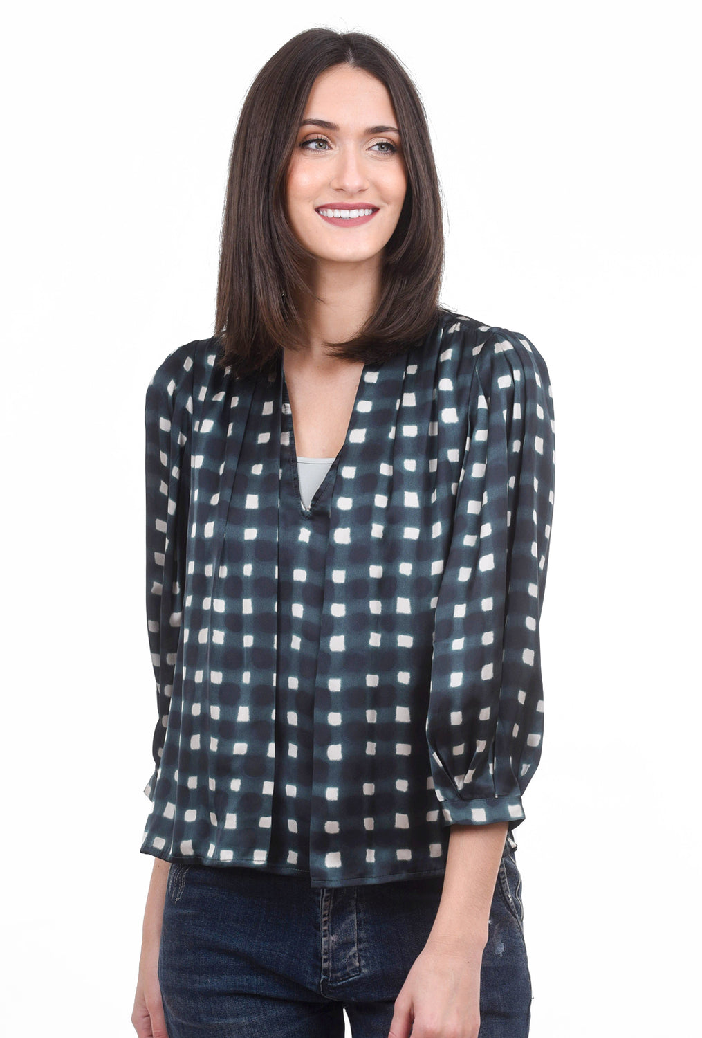 See You Soon Silky Check Pleat Blouse, Green