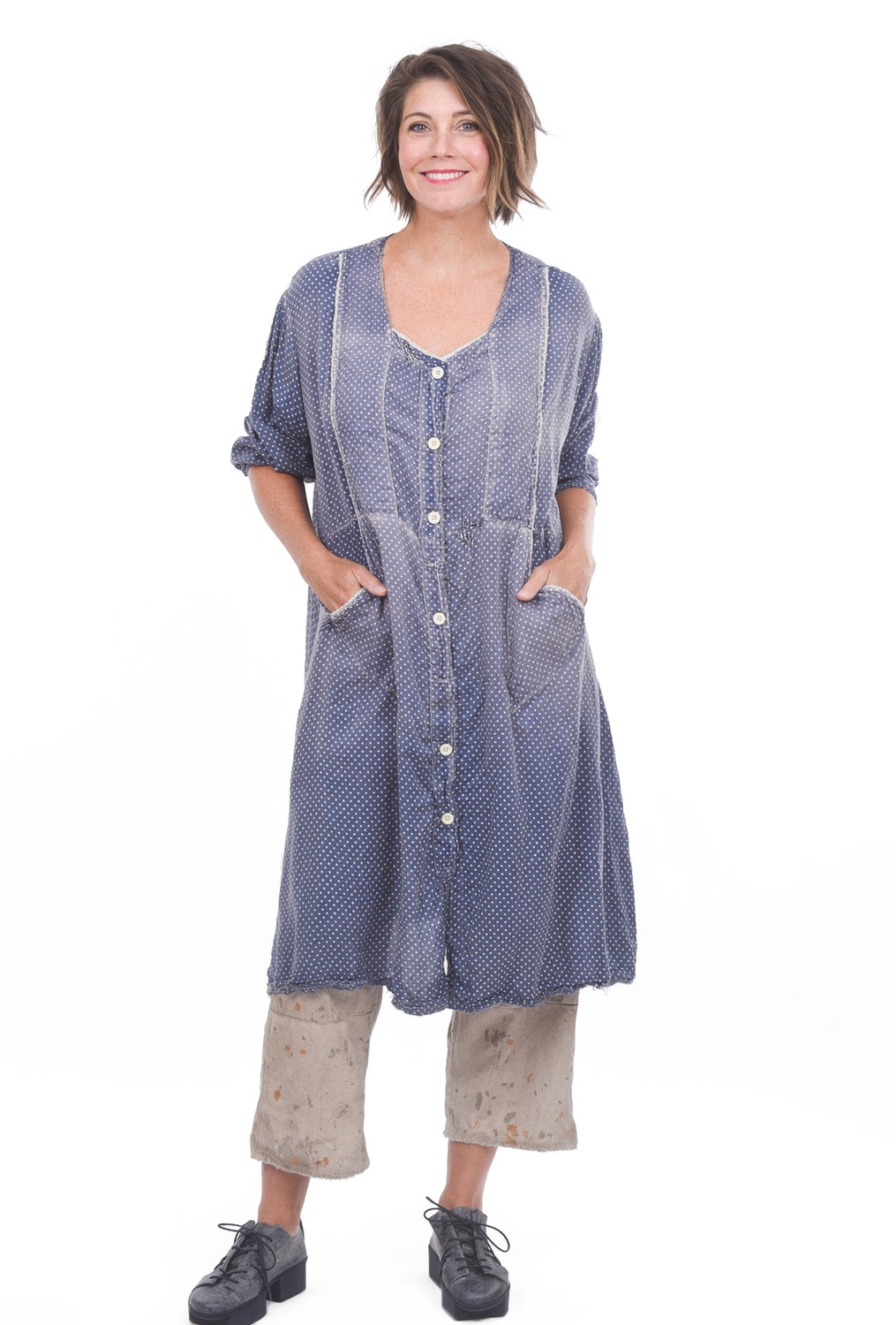 Magnolia Pearl St. Anny Smock Dot Dress, Sundry Blue One Size Blue