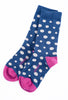 Little River Sock Mill Lucy Diagonal Dot Crew Sock, Blue