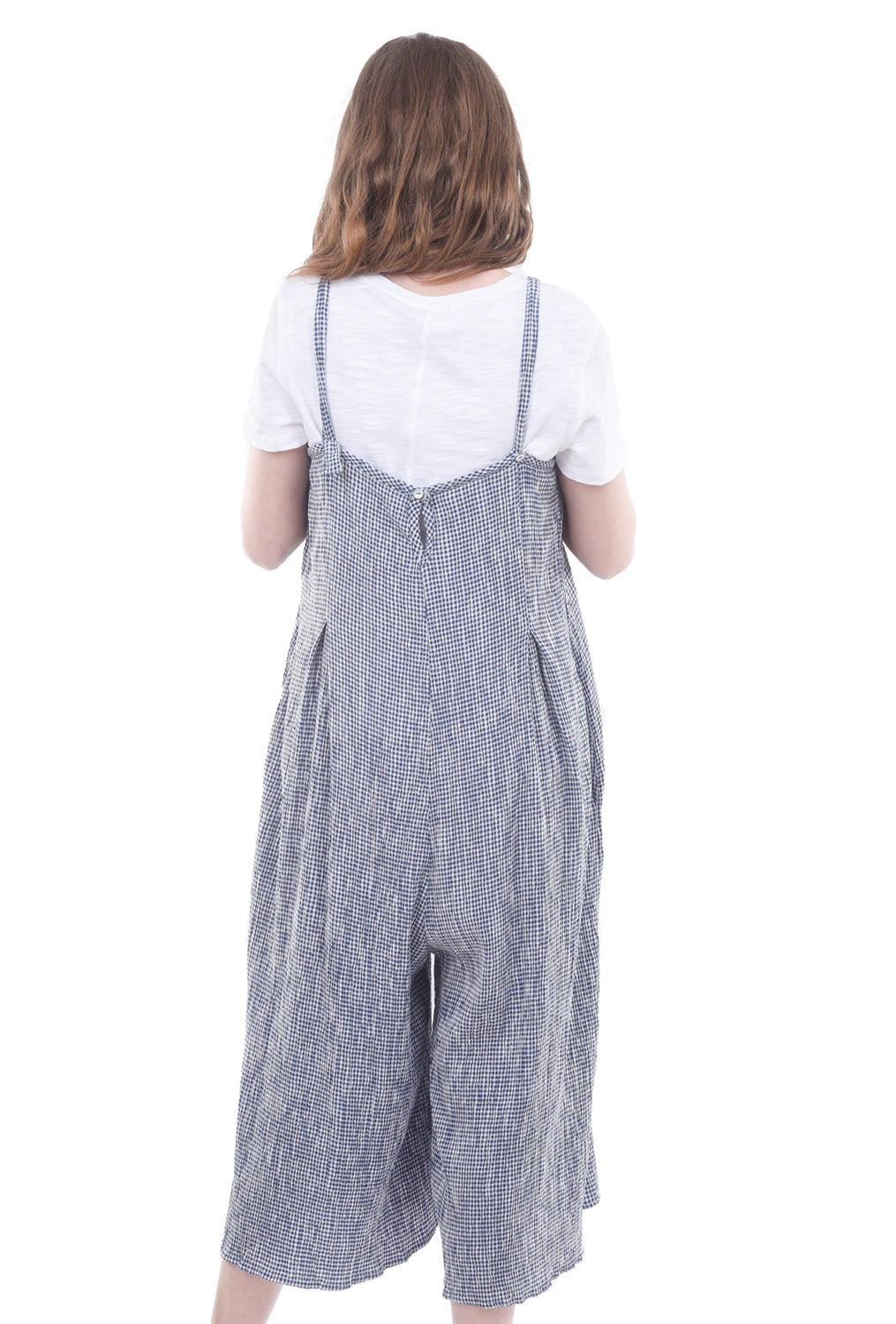 Cut Loose Crinkled Check Jumpsuit, Space Blue