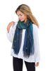Blue Pacific Tree Scarf, Indigo/Citron One Size Indigo