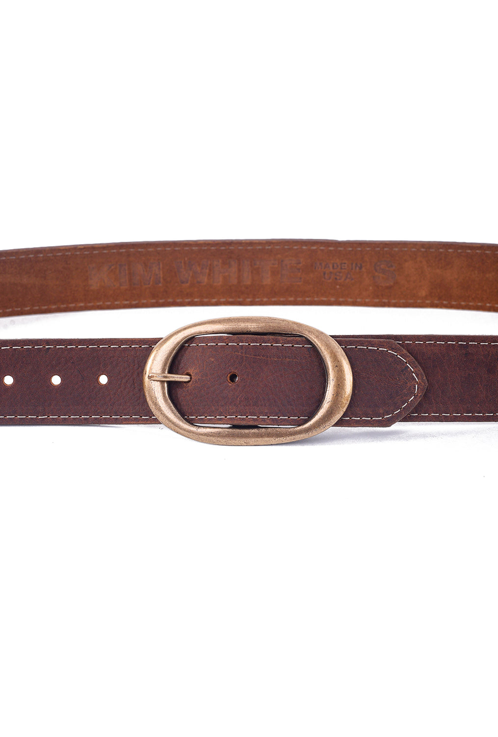 Kim White Oval Classic Belt, Rusty Brown