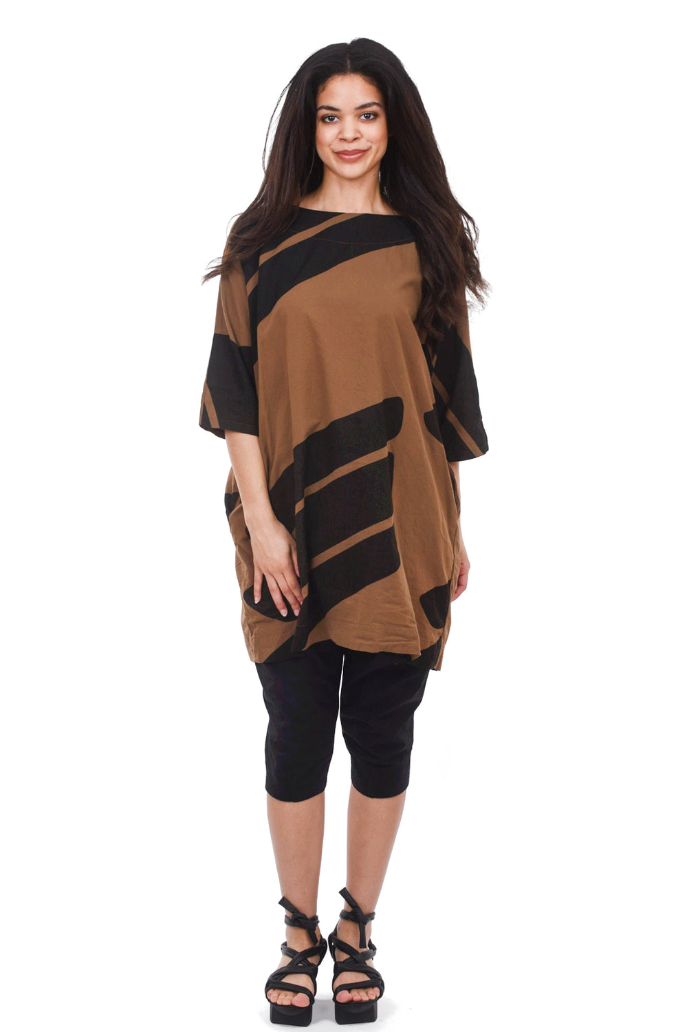 Uzi NYC Uzi Print Now Dress, Brown Swipe