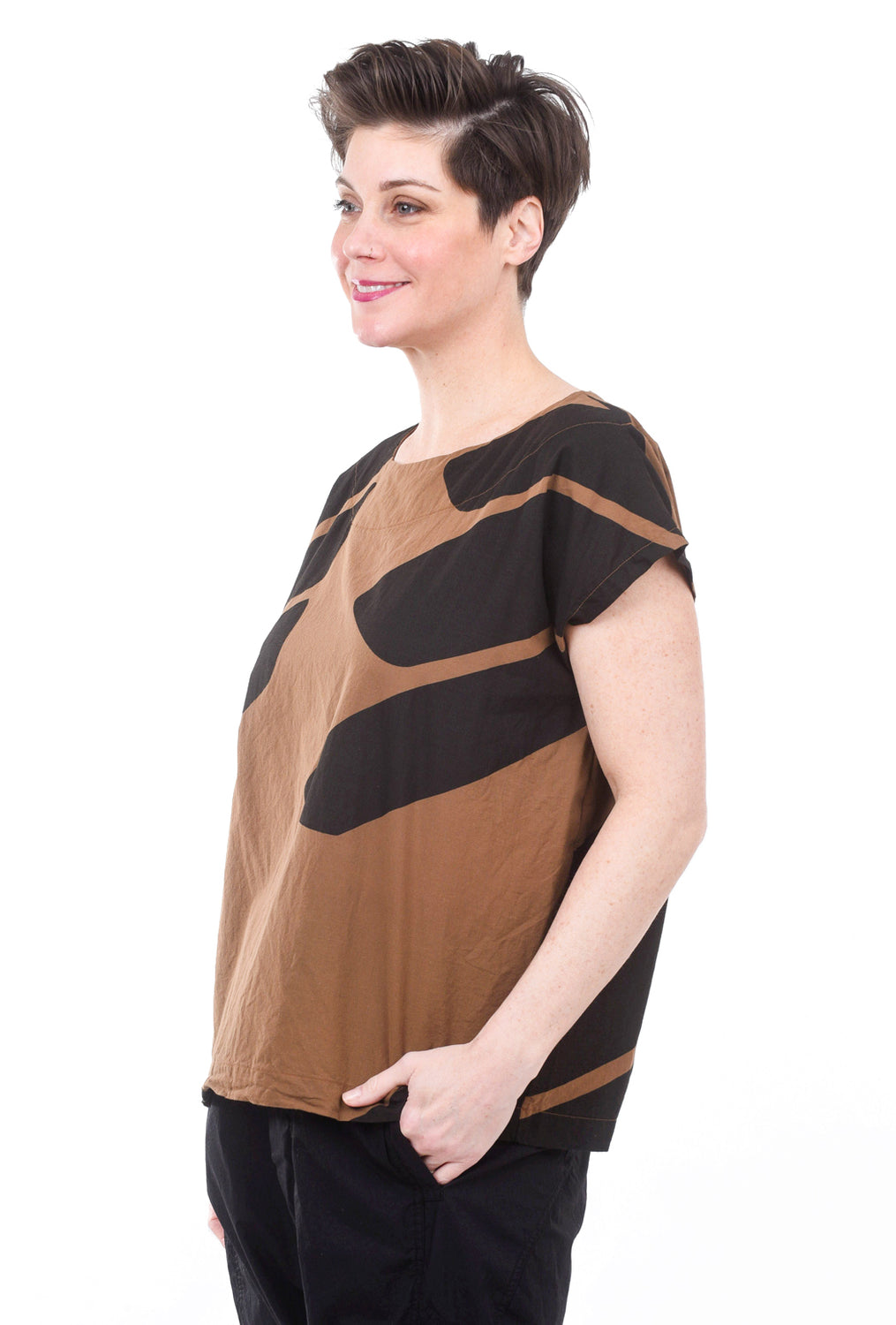 Uzi NYC Uzi Print Tunic Top, Brown Swipe One Size Brown