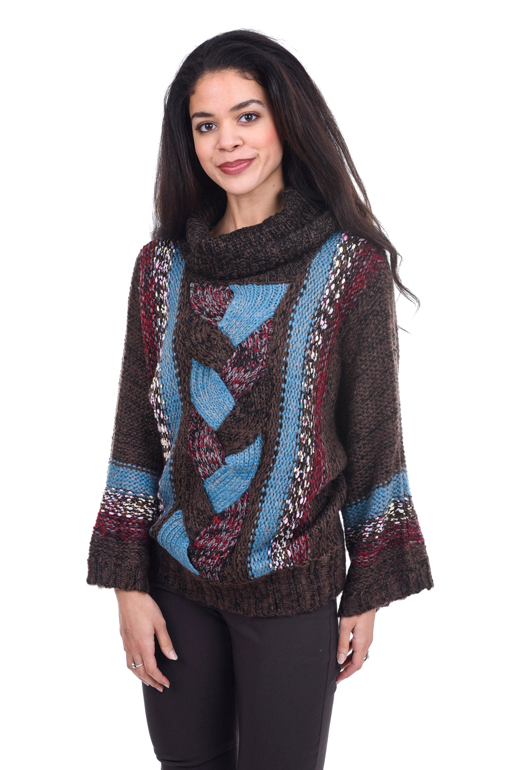 Mystree Braid Front Cowl Sweater, Brown