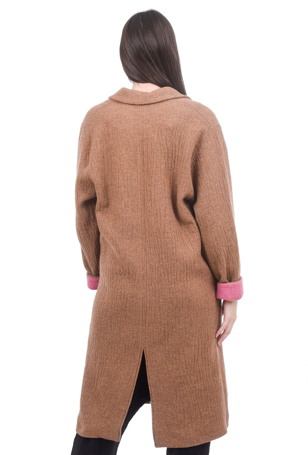 Sita Murt Contrast Pocket Wool Topper, Rust/Pink