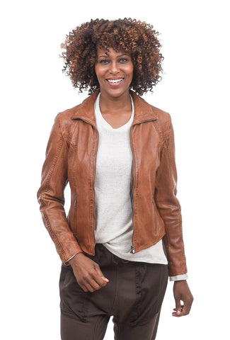 Mauritius Slim Collar Leather Jacket, Dark Cognac