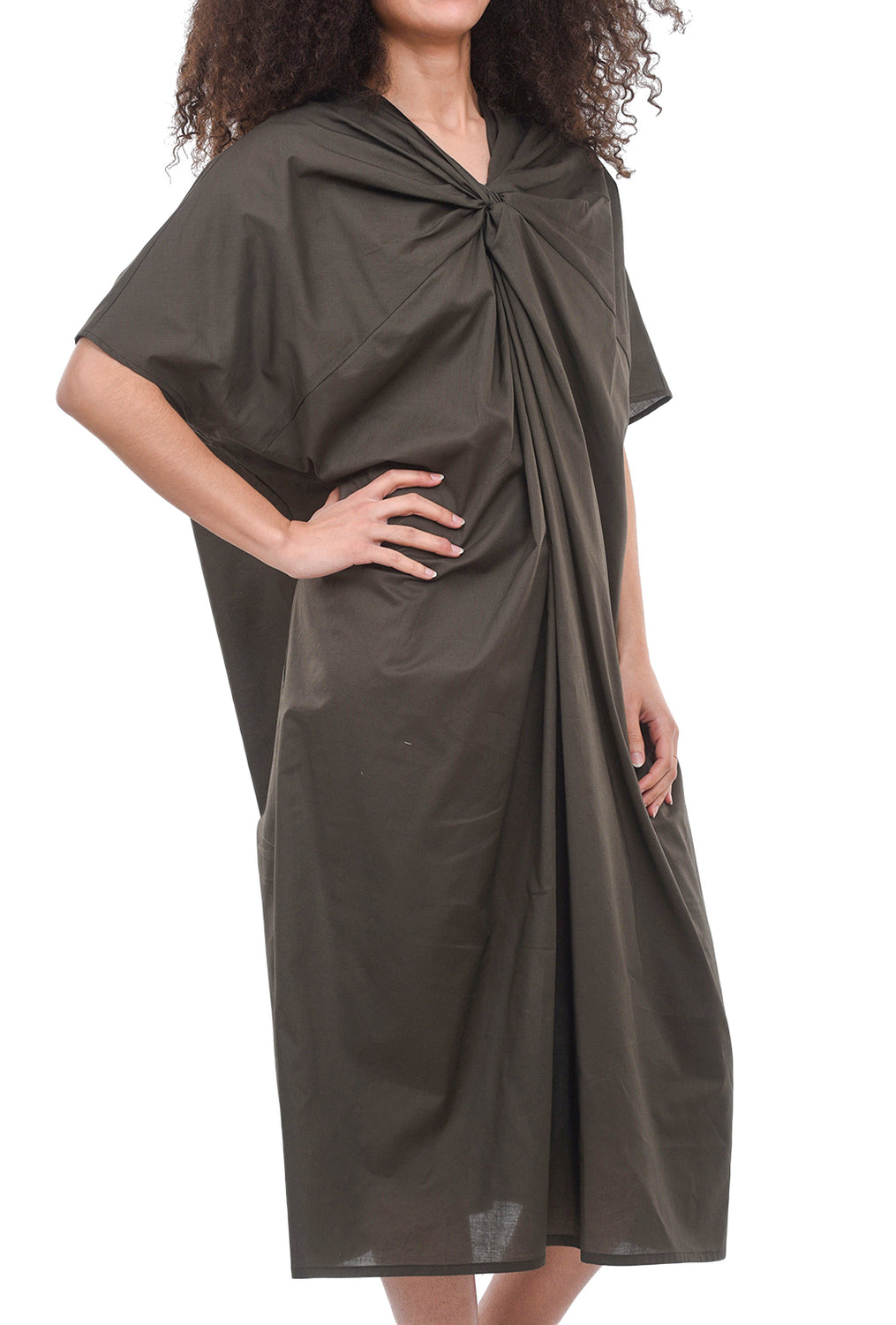 Mizuiro Ind Pinched Neck Dress, Gray-Brown