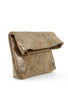 Kim White Foldover Magnet Clutch, Antique Gold Metallic Gold