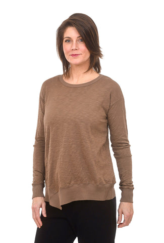 Mododoc Los Angeles Uneven Hem Tee, Brown Agate