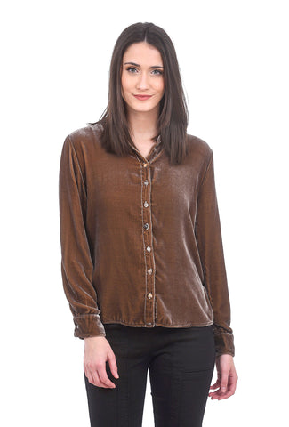 Cut Loose Velvet Not-So-Fitted Shirt, Stonewall