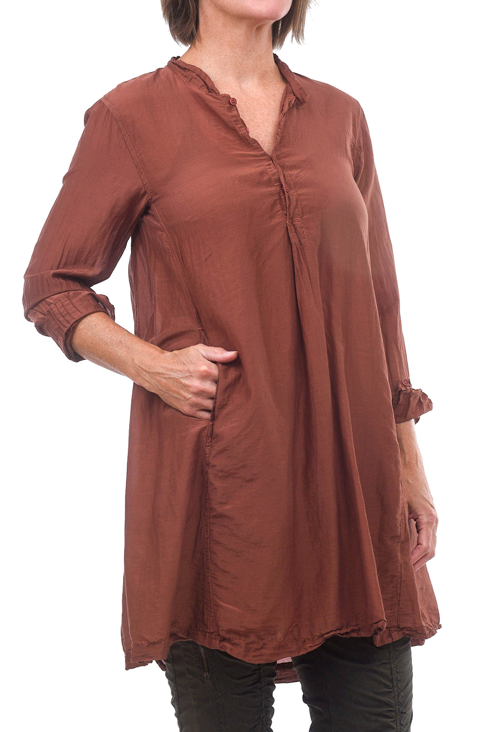 CP Shades Silk-Cotton Jasmine Tunic, Pluot