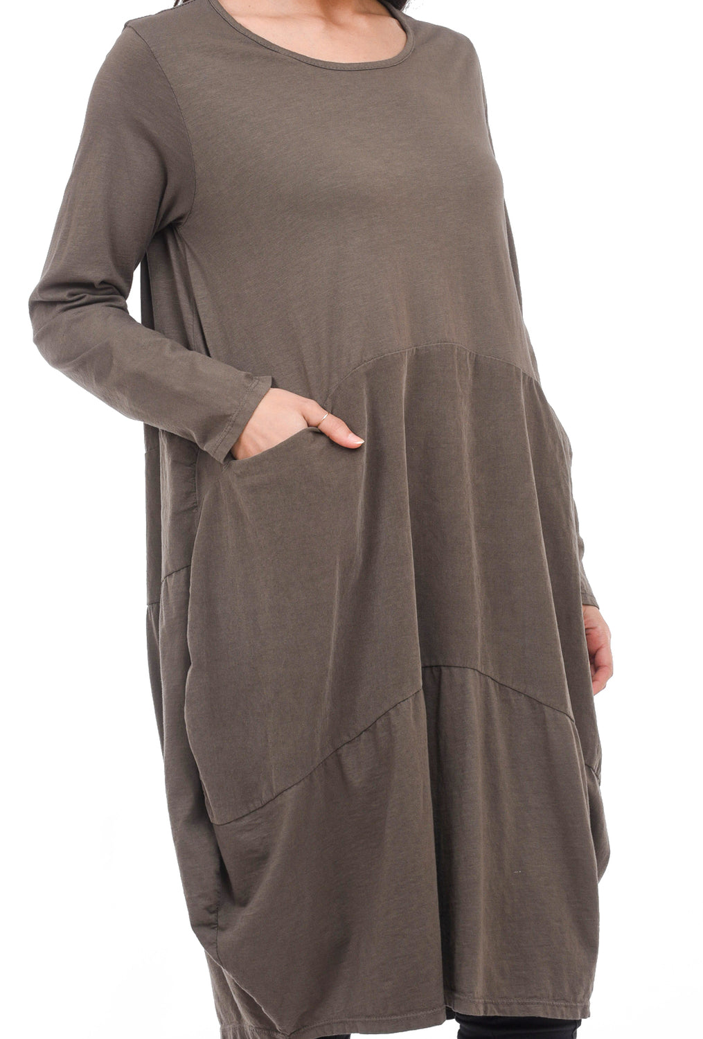 Oro Bonito Cord Inset Bubble Dress, Taupe One Size Taupe