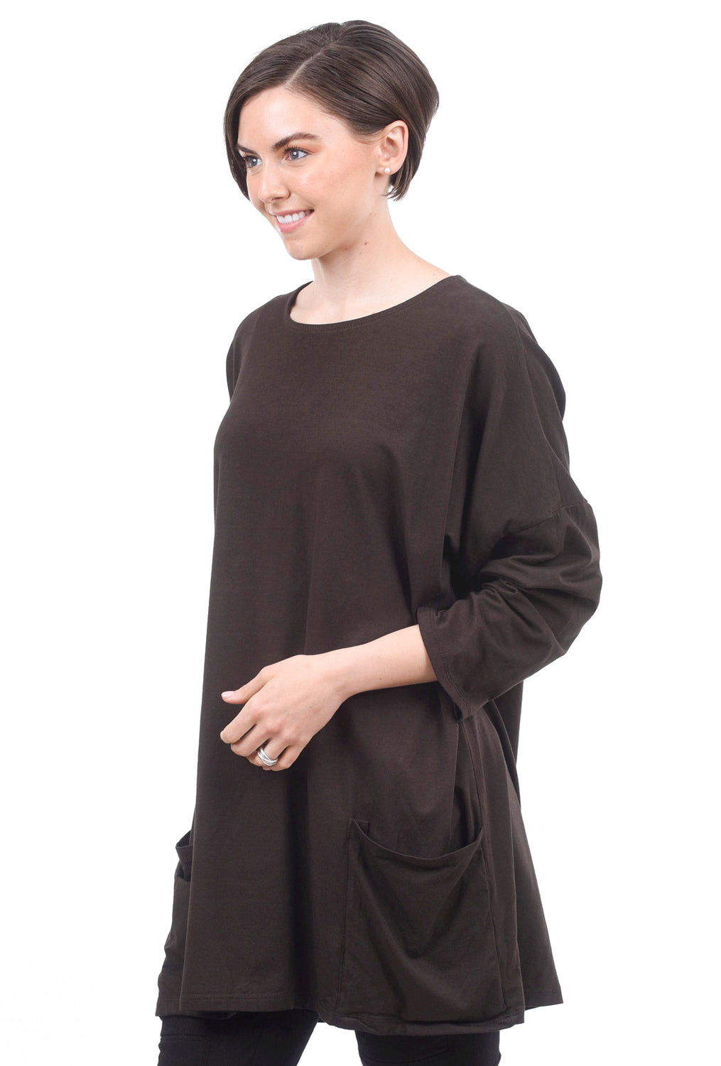 Oro Bonito Slouchy Pocket Tee, Coco Brown One Size Brown