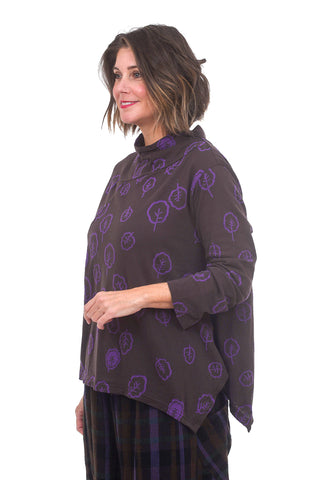 Ji-U Scattered Leaves Top, Brown/Purple