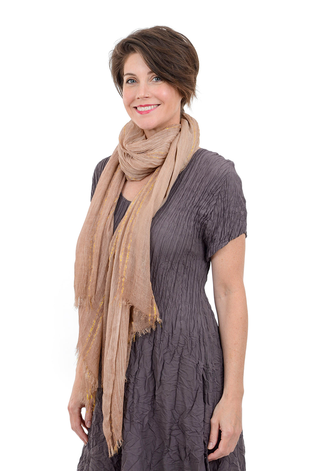 Paisley Road Lurex Accents Scarf, Blush Stripe