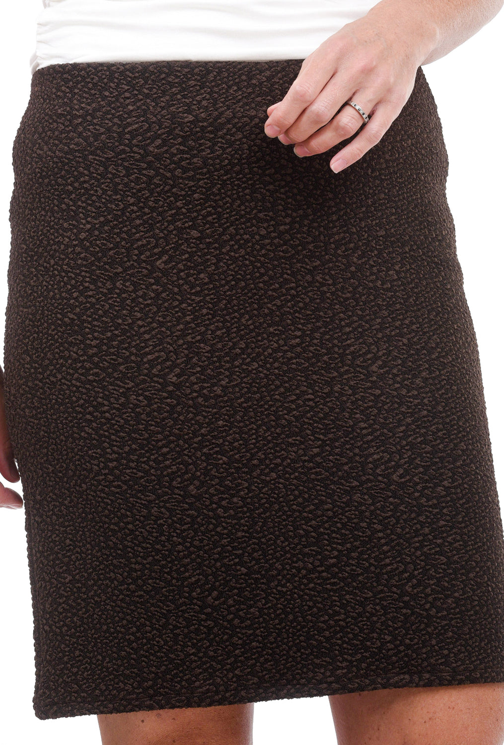 Eva Varro Pebbled Slim Skirt, Mink Brown