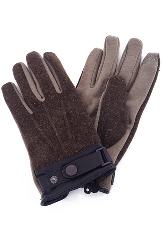 Santacana Madrid Men's Leather-Trim Tech Gloves, Dark Taupe