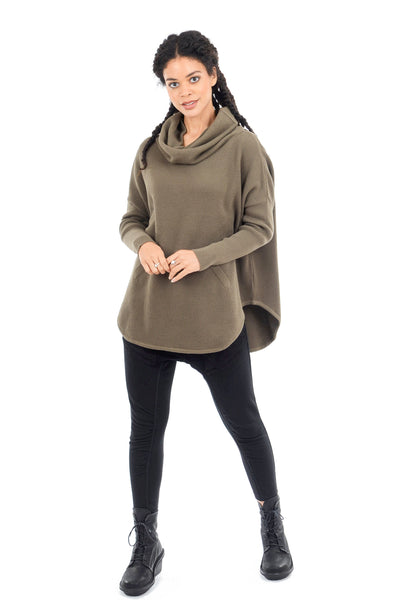 Planet Perfect Waffle Cowl Sweater, Army One Size Army
