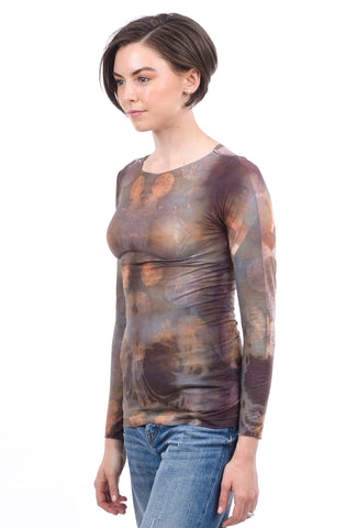AMB Designs Raw-Edge Layer Top, Gold Orbit One Size Gold