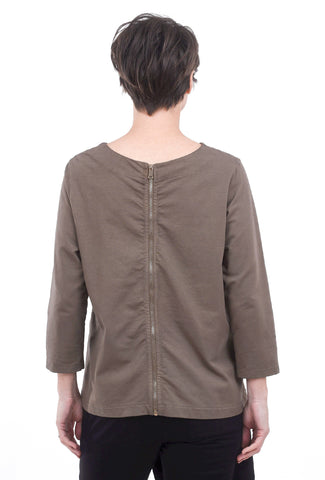 Oro Bonito Fleece Zip-Back Top, Taupe One Size Taupe
