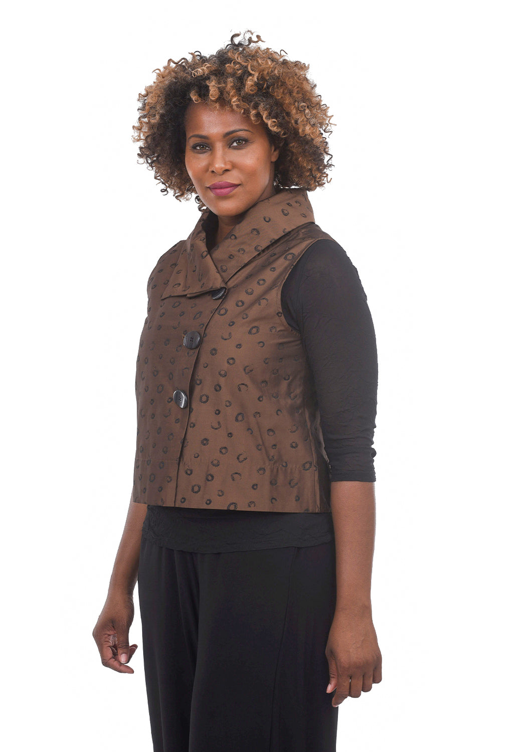 Liv by Habitat Circle Print Crop Vest, Chesnut
