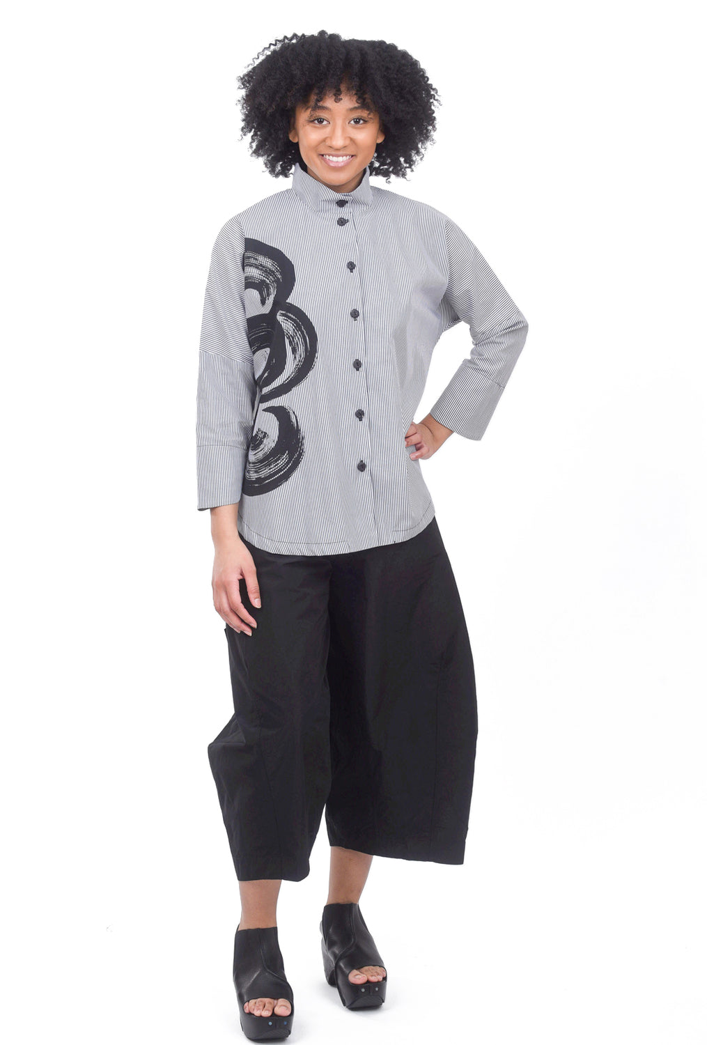 M Square Circular Stripe Shirt, Gray