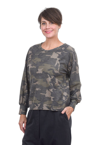 Sinuous Back-Detail Camo Top, Army