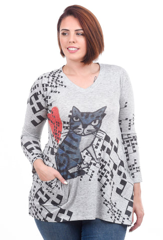 Inoah Grumpy Cat Top, Gray